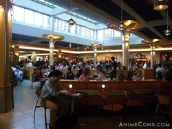 Convention goers in the food court