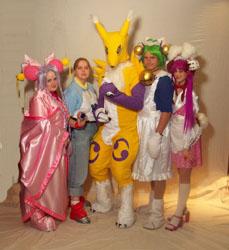 Cherry, Rika, Renamon, Digiko, and Rabi en Rose