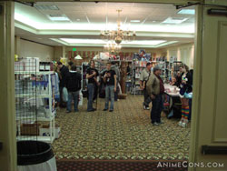 Some shoppers pose in the Dealers' Room
