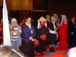 Cosplayers on the chess board
