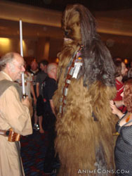 Chewbacca hangs out with his Jedi pal