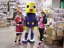 Roll Casket, a servbot, and Tron Bonne from Mega Man Legends