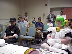 One half of the costume panel audience