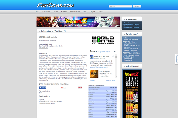It's Over 9,000! That's the Number of Cons in the FanCons.com Database