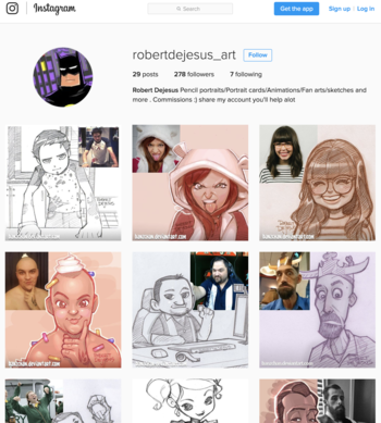 Imposter posing on Instagram as artist Robert DeJesus